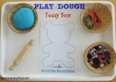 Invitation to play: Free Printable Play Dough Teddy Bear Mat