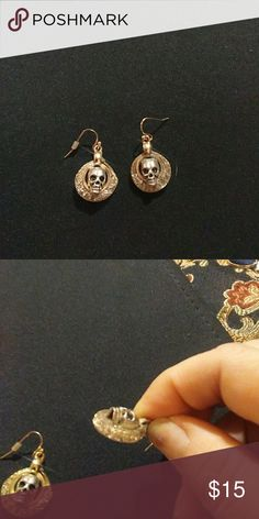 HANDMADE  SKULL EARRINGS This are gold and silver tone with little faux diamonds filigree with silver skulls Jewelry Earrings