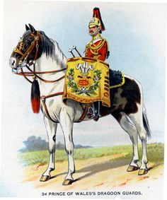 British; 3rd (Prince of Wales's) Dragoon Guards, Kettledrummer, c.1912 from Bands of the British Army by W.J. Gordon and illustrated by F. Stansell