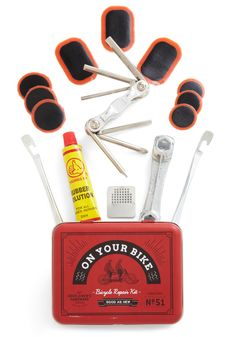 Fixie Upper Bike Tool Kit. Dont let life get your wheels in a bunch - carry this handy-dandy kit from Wild  Wolf in your saddle bag and never fuss over a flat again! #red #modcloth