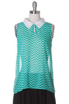 Spearmint Mojito Top, Modcloth Style, Chevron, Casual, Green, Sleeveless #ModclothStyle #Tunic #Casual