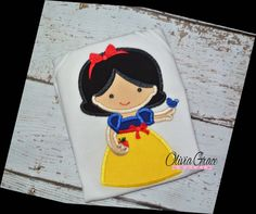 Princess Snow White Embroidered Shirt or onesie. perfect for a Disney vacation or birthday party!