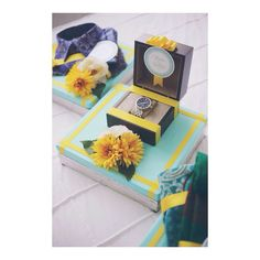 Yellow & Tiffany Blue Gift Trays.