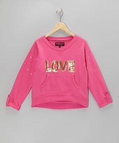 Take a look at this Pink Sequin 'Love' Sweatshirt  - Girls by Dollhouse on #zulily today!