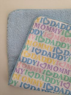 Burp ClothBlueI Love Mommy/Daddy by DirtyRags on Etsy