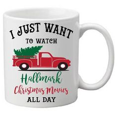 Hallmark mugchristmas I'd make this a shirt Hallmark Christmas Movies, Christmas Mugs, Winter Christmas, Christmas Crafts, Merry Christmas, Christmas Decorations, Christmas Red Truck, Hallmark Movies, Christmas Baking