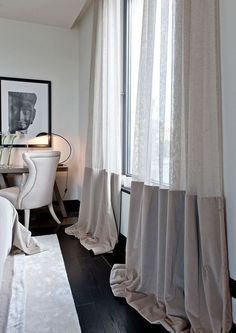 The black floorboards against the half voile curtains is a luxurious look. I love the draping effect on the floor that is given by these curtains. Voile Curtains, Modern Curtains, Custom Curtains, Curtains With Blinds, Drapery, Two Tone Curtains, Beaded Curtains, Velvet Curtains, Curtain Styles