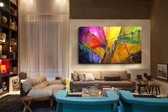 Quadros decorativos Abstratos Britto Acrylic Canvas, Canvas Art, Exterior Design, Interior And Exterior, Sala Grande, Wall Sculptures, E Design, Crafts To Make, Modern Art