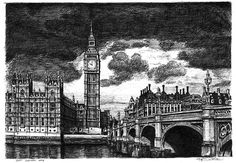 Big Ben and Westminster Bridge (London) - drawings and paintings by Stephen Wiltshire MBE