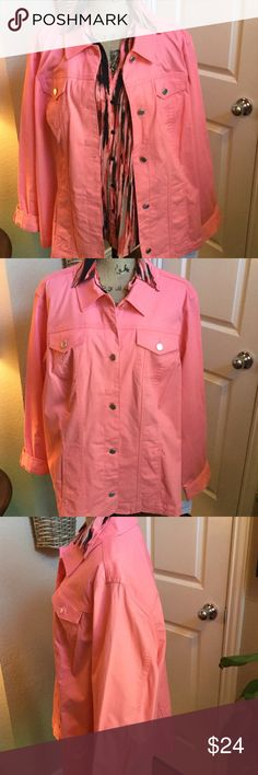 Peach Cotton Button Down Jacket This is a beautiful jacket that is brand-new with tags and great for all seasons of the year. Is a beautiful deep coral peach color and the material is 98% cotton 2% spandex. Very pretty and very comfy. croft & barrow Jackets & Coats Jean Jackets
