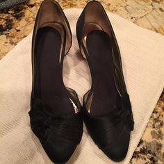 Black satin espadrilles wedges Size 9, 2-inch heel. ZINiny Shoes Wedges