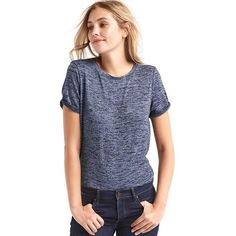 Gap Women Softspun Knit Roll Sleeve Tee ($28) ❤ liked on Polyvore featuring tops, t-shirts, dark night, regular, crew neck t shirt, crew neck tee, knit top, short sleeve tops and relax t shirt