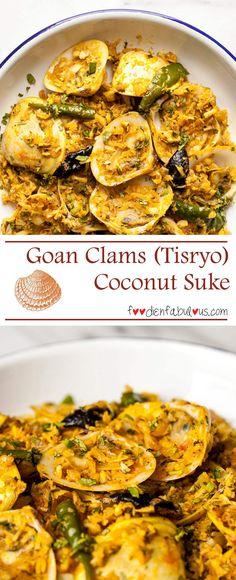 Goan Clams Coconut Suke Recipe - traditional Goan preparation of Tisryo (Clams) suke that is similar to Mangalorean khube sukka.