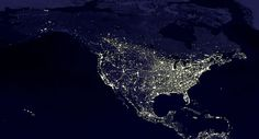 This famous map shows the United States at night as seen from an orbiting NASA satellite Earth At Night, Earth Hour, Just In Case, Just For You, Nasa Photos, Hubble Pictures, Nasa Images, Photo Print, Light Pollution