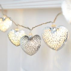 20 Silver Filigree Heart Fairy Lights | Lights4fun.co.uk Valentines Day Decorations, Silver Filigree, Fairy Lights, String Lights, Glow, Drop Earrings, Heart, Metal, Pretty