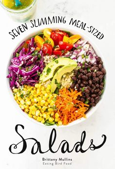 Seven Slimming Meal-Sized Salads eBook // Created by health coach Mullins (Eating Bird Food), all the recipes are healthy and under 500 calories each. Healthy Summer Recipes, Healthy Salad Recipes, Whole Food Recipes, Healthy Snacks, Alkaline Recipes, Healthy Options, Lunch Recipes, Yummy Recipes, Vegan Recipes