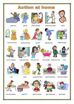 Daily routines: action at home teaching english ingilizce dilbilgisi, ingil Learning English For Kids, English Worksheets For Kids, English Lessons For Kids, Kids English, English Activities, Learn English Words, English Language Learning, English Study, Teaching English