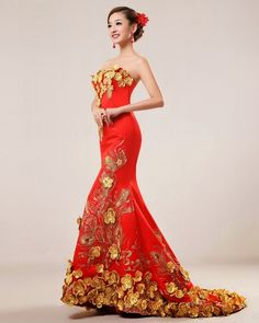 Red is mostly used in traditional wedding dresses in eastern cultures like China, Vietnam and other Chinese influenced countries since it signifies good luck. Description from theshortweddingdresses.com. I searched for this on bing.com/images