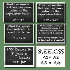 Love this set of 8th grade common core practice problems for scavenger hunts and more.  Students need the practice, but it still should be fun!