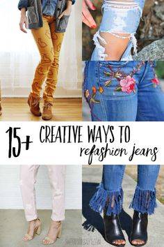 Makeover your old jeans! Check out this curated list of 15+ ways to refashion denim; including no sew options and ideas for both women and kids. Lots of refashion tutorials that are fun to make! How To Make Jeans, Reuse Clothes, Jeans Refashion, Tie Dye Jeans, Painted Jeans, Fashion And Beauty Tips, Old Jeans, Diy Fashion, At Least