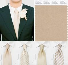 Handsome wedding ties for grooms and groomsmen in champagne.