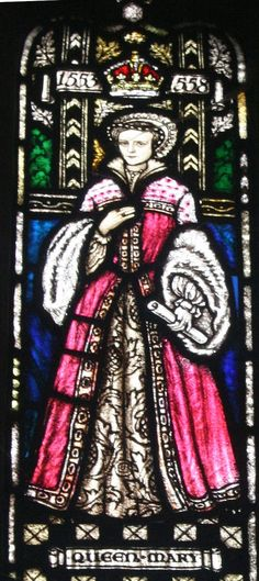 Nineteenth-century stained glass window depicting Queen Mary I in the cloisters of Worcester Cathedral. Mary visited the Cathedral in 1526 aged ten-years-old, and celebrated mass at the High Altar. Mary I Of England, Queen Of England, Worcester Cathedral, Mary Tudor, Tudor Era, The Cloisters, Tudor History, Queen Mary, Stained Glass Windows