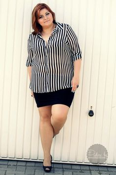 Ela in stripes #curves #plussize  http://www.conquore.com/2013/08/would-you-wear-stripes-plus-size-fashion.html