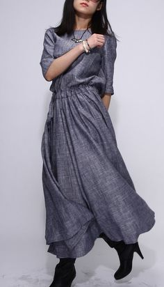 CONCEPTS Gray Linen dress fashion long woman dress... gorgeous in its simplicity