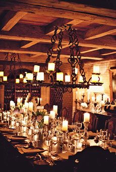 reception in a wine cellar