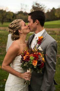 Rustic Fall Wedding Bouquet - red, orange, burgundy, lime green, yellow - roses, calla lilies, mokara orchids, bells of ireland, kangaroo paws, leucadendron, bittersweet, seeded eucalyptus - Julia's Blooms / Twin Cities Wedding Florist, Minneapolis & St. Paul