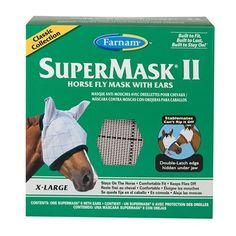 Farnam Home and Garden 100504653 Fly Supermask II for Horse, X-Large by Farnam Home & Garden. $26.99. Size Extra Large. Does Not Obstruct Vision. Double Latch Design Is Difficult for Horses To Remove. Offers Up Protection and Protection From Flies, Dirt and Dust. Comfortable. Farnam 100504653 super mask protects horses from flies, up rays, dust and dirt without obstructing vision. Under-the-jaw strap design is more difficult for other horses to remove. Double latch closure kee...