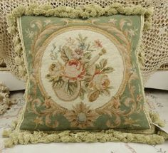 14-Chic-Shabby-Pale-Green-Beige-Floral-Handmade-Needlepoint-Pillow-Cushion