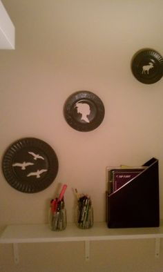 spray painted plates from a thrift store (found this idea from the Rachel Ray magazine) total cost= $5