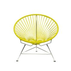 The Innit Chair - contemporary lounge or occasional chair suitable for indoors and out. æComposed of a tripod metal base and seat woven with vinyl cord. æThe Innit chair is similar in construction and form to our Acapulco chair though slightly le Acapulco Chair, Contemporary Lounge, Modern Lounge, Vinyl Frames, Copper Frame, Papasan Chair, Frame Crafts, Occasional Chairs, Patio Chairs