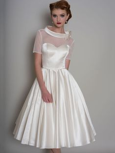 Robes De Confirmation, Tea Length Dresses, Dresses With Sleeves, Short Sleeves, Cap Sleeves, Pretty Dresses, Beautiful Dresses, Bridal Gowns, Wedding Gowns