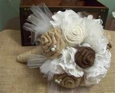 Rustic Chic Wedding Burlap and Lace Bouquet-Bridal-Fabric-Handmade. Your throw away bouquet.we can add colors too. The single lady that catches it can have it as a decor piece. Burlap Flower Bouquets, Burlap Bouquet, Lace Bouquet, Burlap Lace, Floral Bouquets, Hessian Flowers, Fabric Bouquet, Burlap Ribbon, Chic Wedding