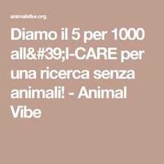 Diamo il 5 per 1000 all'I-CARE per una ricerca senza animali! - Animal Vibe