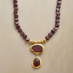 """LEADING LADY NECKLACE BY NAVA ZAHAVI--Elegantly framed in 24kt gold and accompanied by 18kt gold beads, faceted drops of freeform garnet take center stage in a long, languorous garnet necklace. By Nava Zahavi. Exclusive. 48""""L."""
