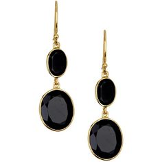 Argento Vivo 18K Gold Plated Sterling Silver Onyx Double Stone Drop... (100 BRL) ❤ liked on Polyvore featuring jewelry, earrings, accessories, gold, sterling silver onyx earrings, onyx earrings, 18 karat gold earrings, drop earrings and gold plated jewellery