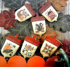 Prairie Schooler Acorns Thanksgiving Fall Autumn Book 65 Cross Stitch Pattern | eBay