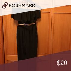 Black jumpsuit Black dressy jumpsuit super cute has a belt never worn ~ purchased wrong size . Elastic ankles straight fit .100% polyester top has ruffled look strapless Simply Vera Vera Wang Other
