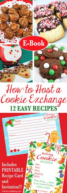 Everything you need to know about hosting your own cookie exchange; including 12 easy recipes. Includes printables and several gluten free recipes. Buy this ebook on http://MomLovesBaking.com
