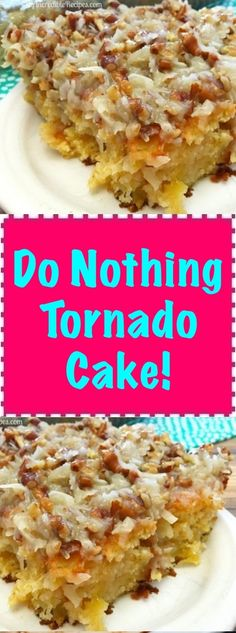 When a friend brought this to a church supper, EVERYONE insisted on getting the recipe. Very moist and delicious. This really is just about a do nothing cake, unless you count walking across the street to the neighbor's Dump Cake Recipes, Baking Recipes, Dessert Recipes, Baking Pan, Baking Soda, Dessert Simple, Do Nothing Cake, Tornado Cake, Great Desserts