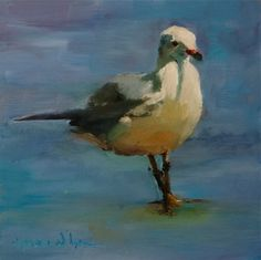 Virginia Sea Gull Original Oil Bird Seascape Art Painting, painting by artist Norma Wilson