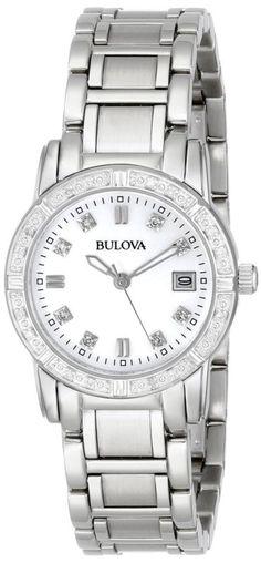 928c67b0666 Bulova Women s Diamond-Accented Silver Tone Stainless Steel Watch