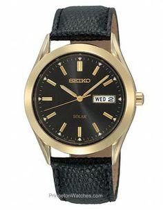 Seiko Solar Mens Watch - Black Dial - Gold-Tone Case - Black Leather Strap