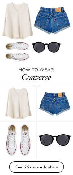 """Untitled #461"" by morgan-sullivan on Polyvore featuring MANGO, Converse and Yves Saint Laurent"