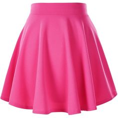 Women's Basic Solid Versatile Stretchy Flared Casual Mini Skater Skirt ($8.65) ❤ liked on Polyvore featuring skirts, mini skirts, b o t t o m s, circle skirt, stretch mini skirt, pink skirt, skater skirt and flare skirt