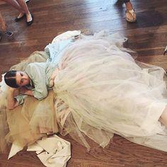 Pre 10 hour fitting had us like Anja Gockel, Girls Dresses, Flower Girl Dresses, Tulle, Wedding Dresses, Fashion, Dresses Of Girls, Bride Dresses, Moda