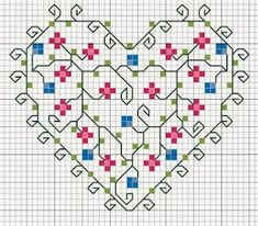 delicate heart with cross stitch flowers and blackwork vines / COEUR Cross Stitch Boards, Just Cross Stitch, Cross Stitch Heart, Cross Stitch Flowers, Motifs Blackwork, Blackwork Embroidery, Cross Stitch Embroidery, Embroidery Hearts, Embroidery Patterns
